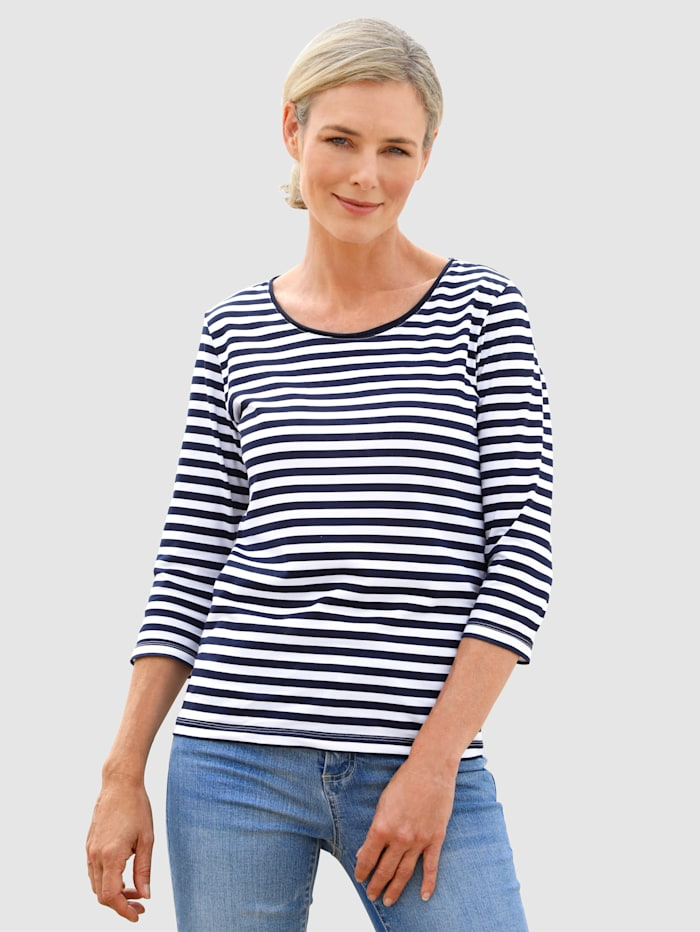 Dress In Shirt mit schönem Streifendruck, Marineblau