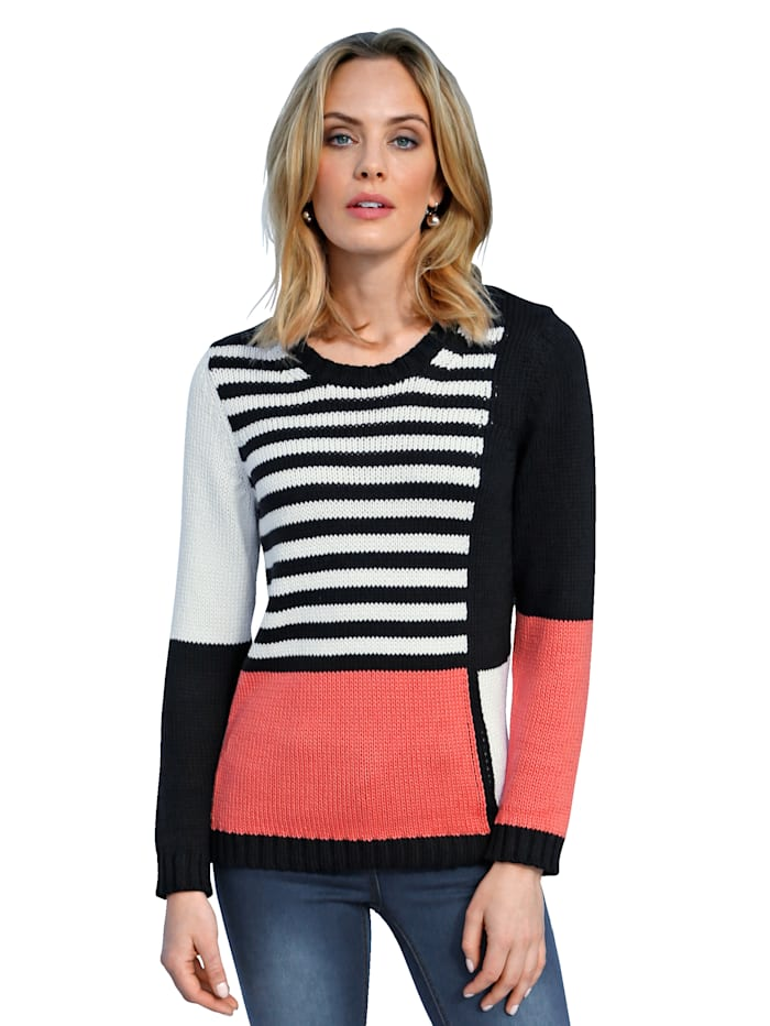 AMY VERMONT Pull-over d'aspect patchwork, Marine/Blanc/Corail