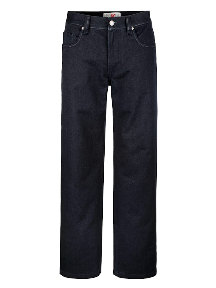 Roger Kent Pantalon 5 poches d'aspect laine, Marine