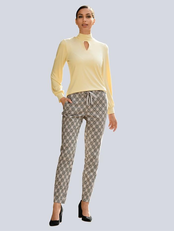 Alba Moda Hose mit Bügelfalte vorne, Schwarz/Creme-Weiß
