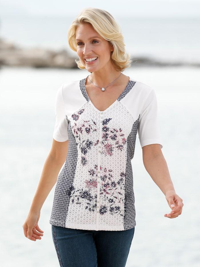 Paola Shirt met gedessineerde kanten inzetten, Wit/Marine/Lichtblauw