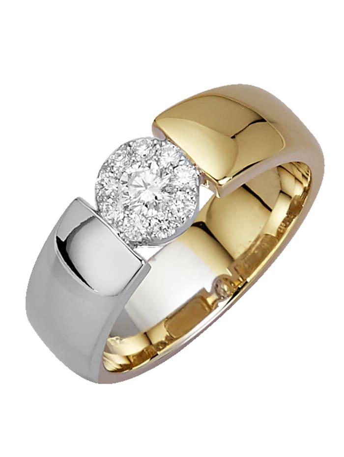 Diemer Diamant Damenring mit Brillanten, Gelbgoldfarben/Weißgoldfarben