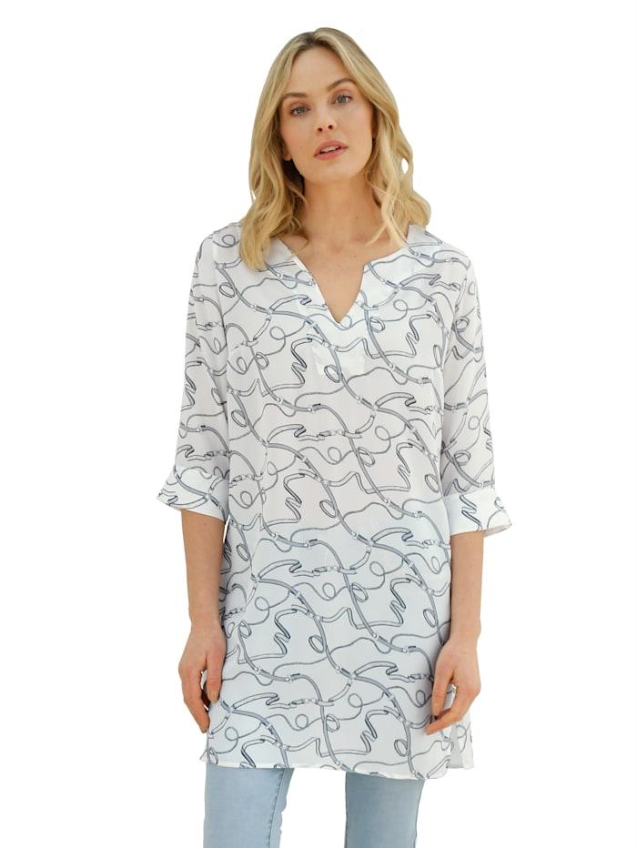 AMY VERMONT Tunika mit grafischem Muster, Off-white/Grau