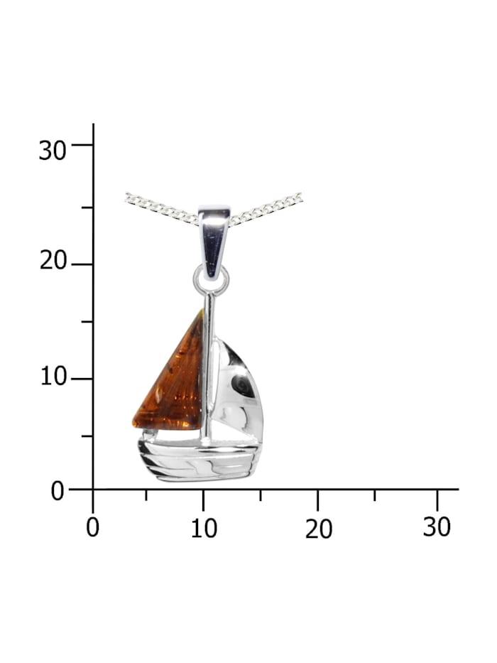 Kette mit Anhänger - Schiffchen - Silber 925/000 - Bernstein