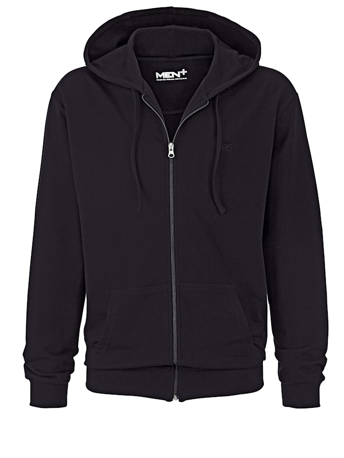 Men Plus Sweatjacke mit Kapuze, Schwarz