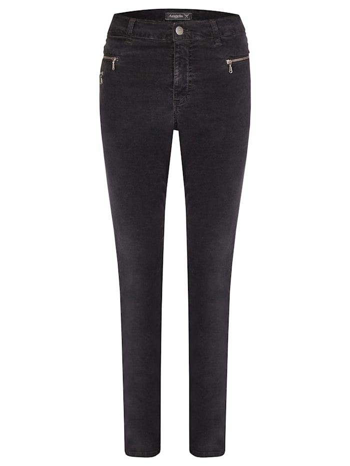 Angels Jeans 'Malu Zip' aus samtigem Stoff, anthracite