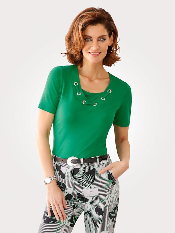 MONA Shirt mit raffiniertem Ausschnitt, Grün