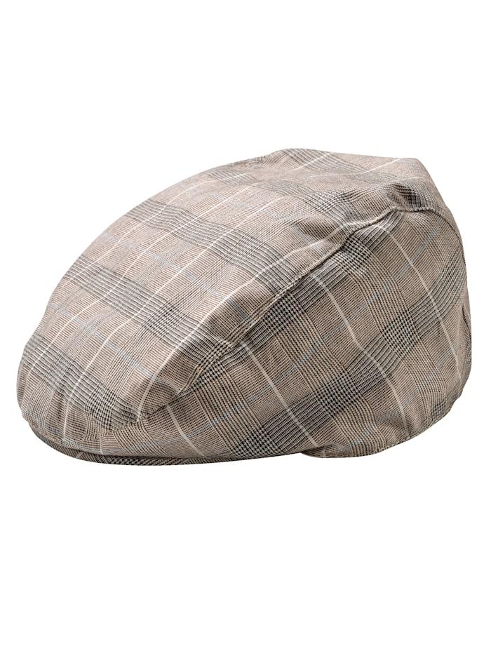 BABISTA Flatcap av lin, grå/beige