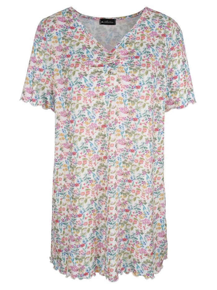 m. collection Longshirt floral bedruckt, Weiß/Multicolor