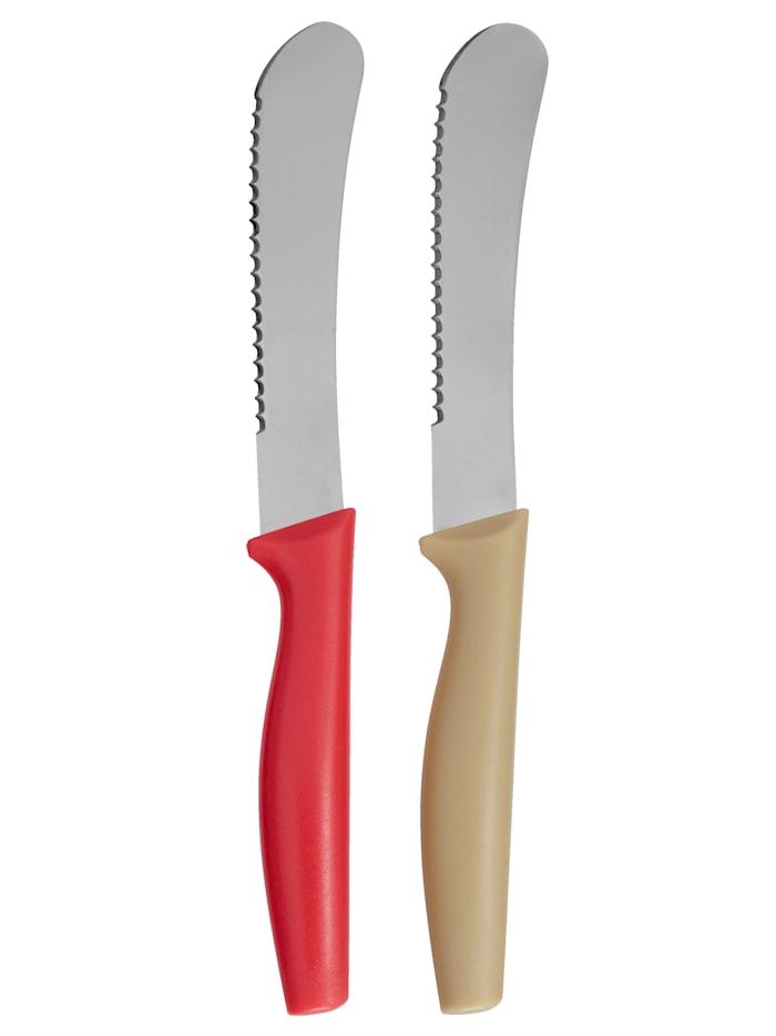 Lot de 2 couteaux à pain, Beige/rouge