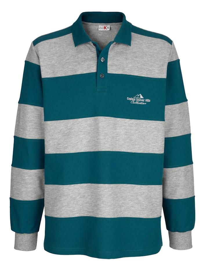 Roger Kent Sweatshirt met ingezette strepen, Petrol/Grijs