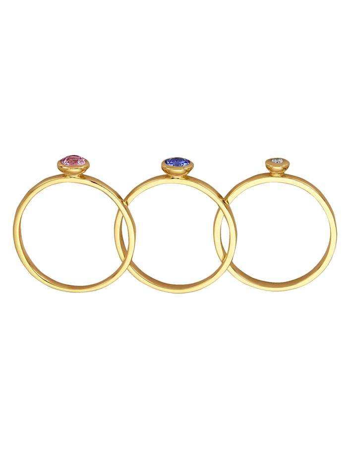 Diemer Farbstein 3tlg. Ring-Set, Blau