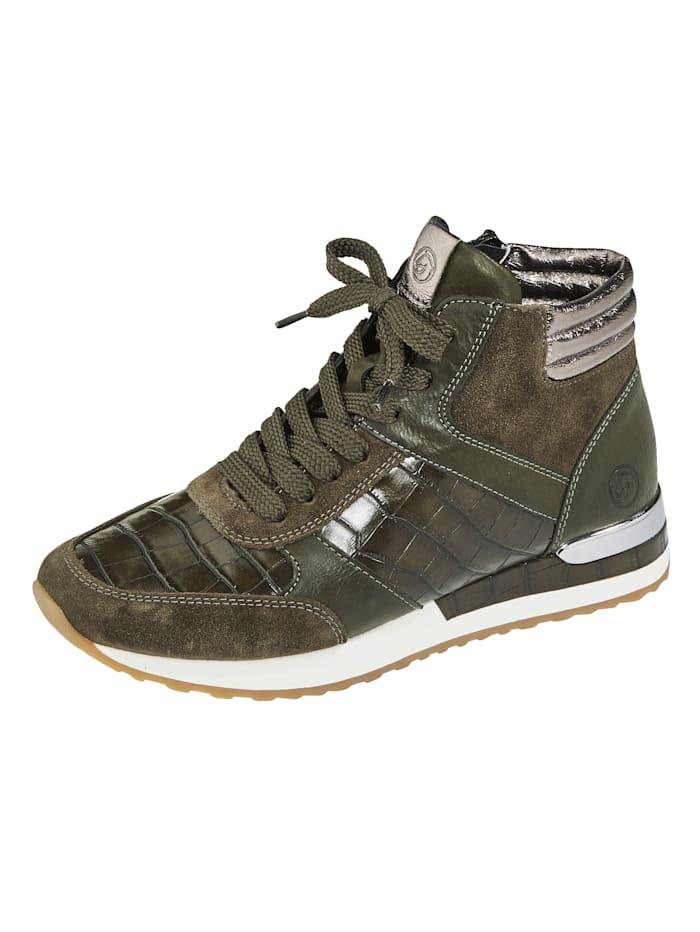 Remonte Sneaker van een chique materialenmix, Kaki/Zilvergrijs