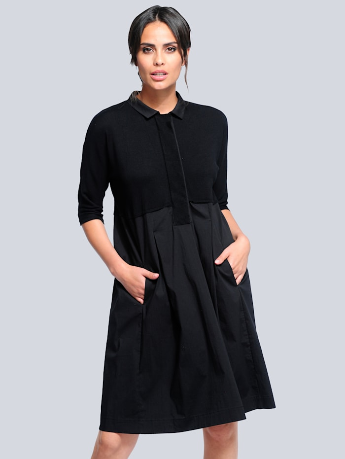 Alba Moda Pletené šaty s efektným mixom materiálov, Čierna