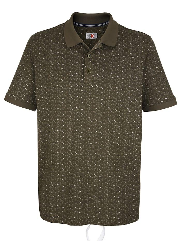 Roger Kent Poloshirt mit Allover-Druckmotiv, Khaki
