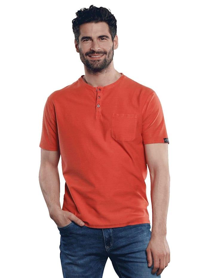Engbers Henley T-Shirt in Rippoptik, Tieforange