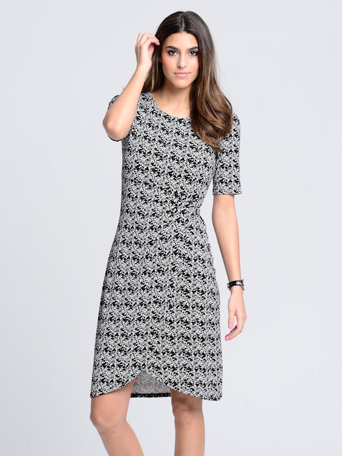 Alba Moda Kleid mit floralem Allover-Druck, Schwarz/Weiß