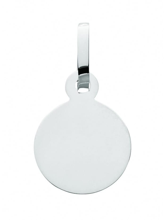 1001 Diamonds Damen Silberschmuck 925 Silber Gravurplatte Anhänger Ø 8 mm, silber