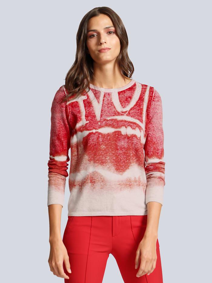 OUI Pullover mit edlen Strasssteinen besetzt, Rot