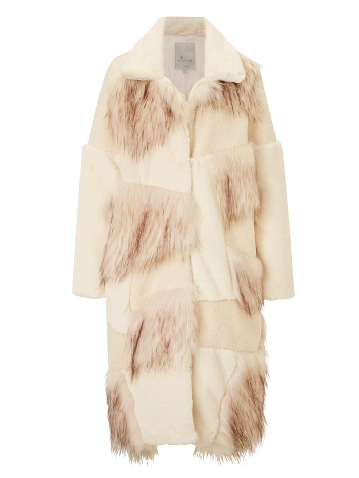 Goosecraft Fake Fur Mantel, Creme-Weiß
