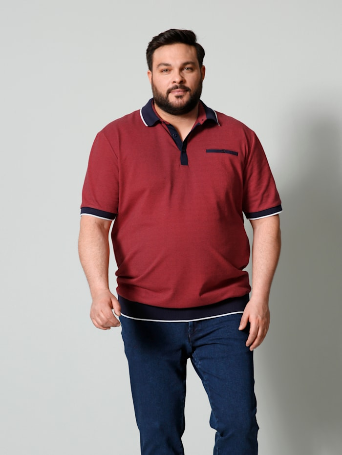 Men Plus Poloshirt Spezialschnitt, Rot/Marineblau/Weiß