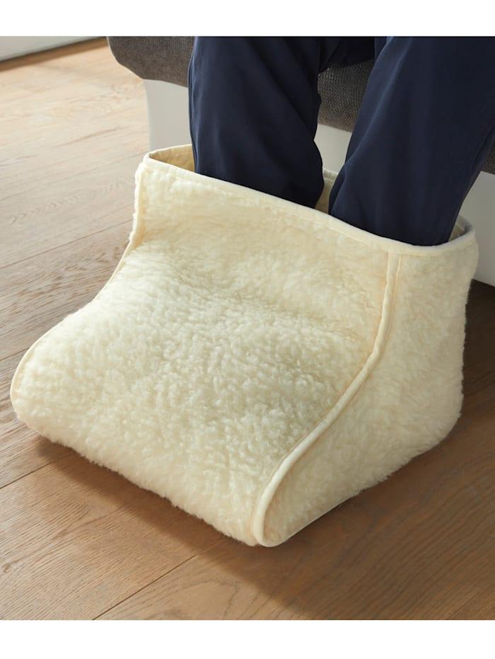 Vankúš pod nohy a ohrievač nôh zo strižnej vlny ponúkame ako set aj samostatne