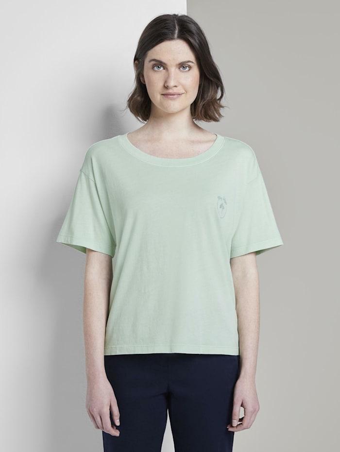 Tom Tailor T-Shirt in Farbwaschung mit kleinem Print, Fresh Mint Green