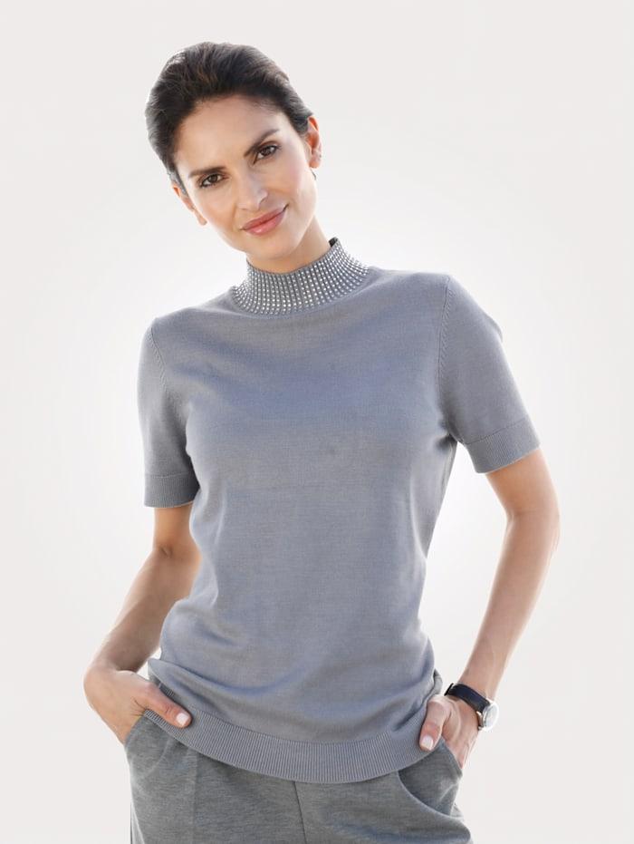 MONA Pullover dekoriertem Stehkragen, Grau