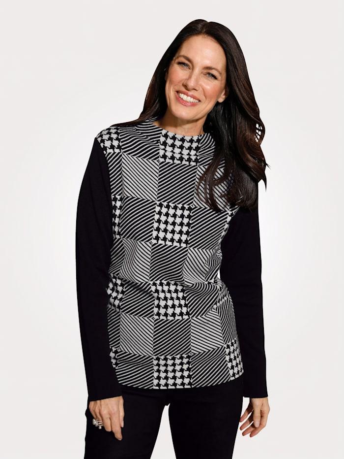 MONA Pullover mit grafischem Jaquard, Schwarz/Weiß