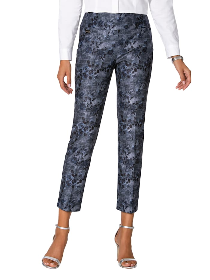 Lisette L. Shaping-broek met bloemendessin, Dark blue