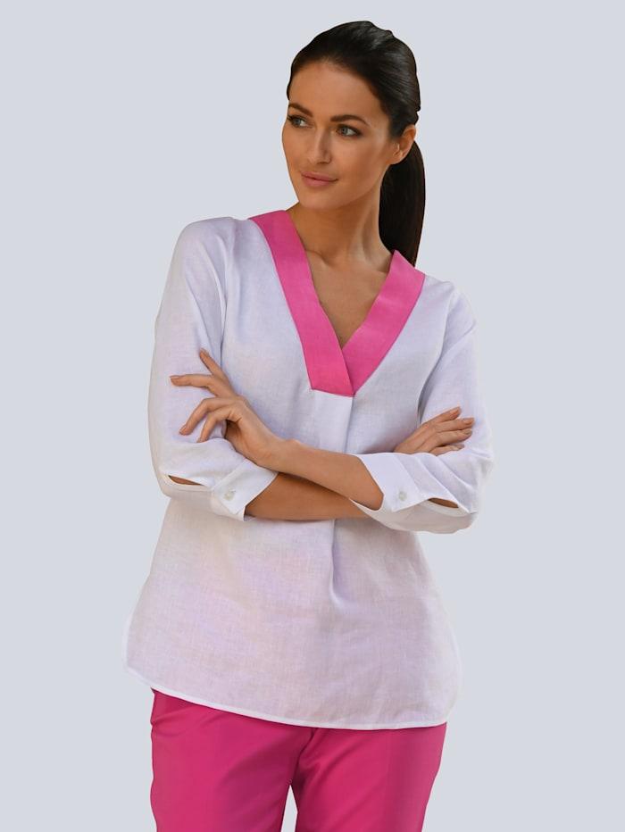 Alba Moda Bluse aus hochwertigem Leinen, Weiß