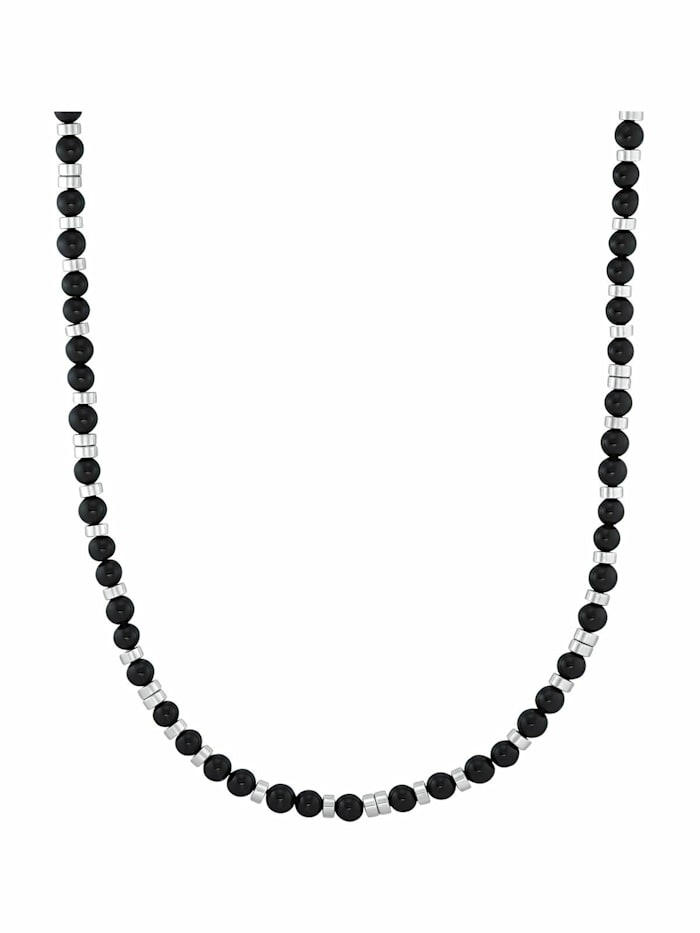 s.Oliver Halskette für Herren, Edelstahl mit Achatsteinen schwarz, Schwarz