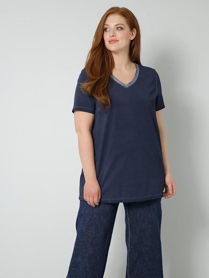 Sara Lindholm Shirt mit Dekoband am Ausschnitt, Marineblau