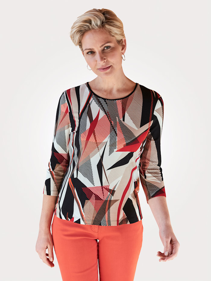 Barbara Lebek Shirt met print rondom, Rood/Zwart