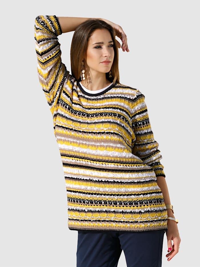 MIAMODA Pullover mit modischem Effektgarn, Gelb/Schwarz/Braun