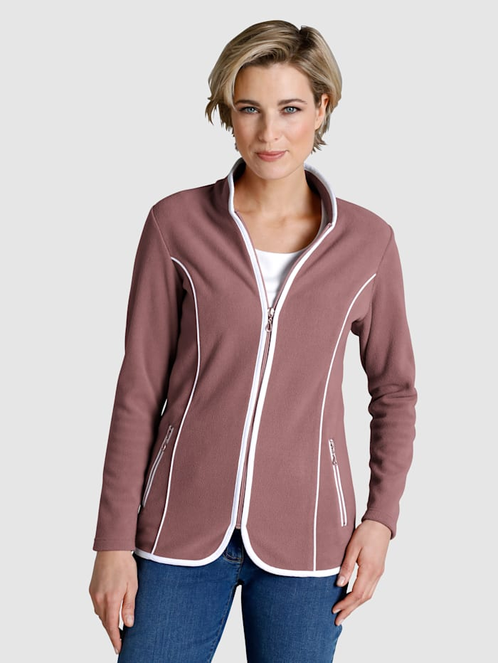 Dress In Fleece Jacket Contrasting piping, Rose/White
