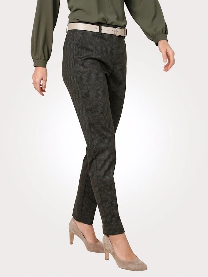 MONA Pantalon à motif prince-de-galles, Olive