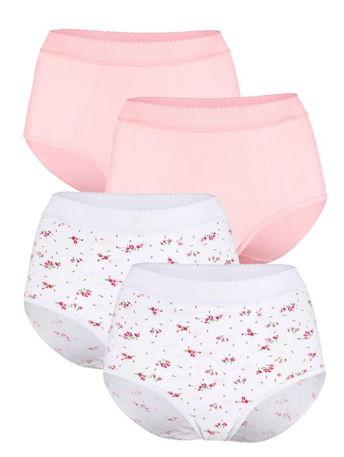Harmony Taillenslips mit Bauchweg-Funktion, 2x weiß/rosé, 2x rosé