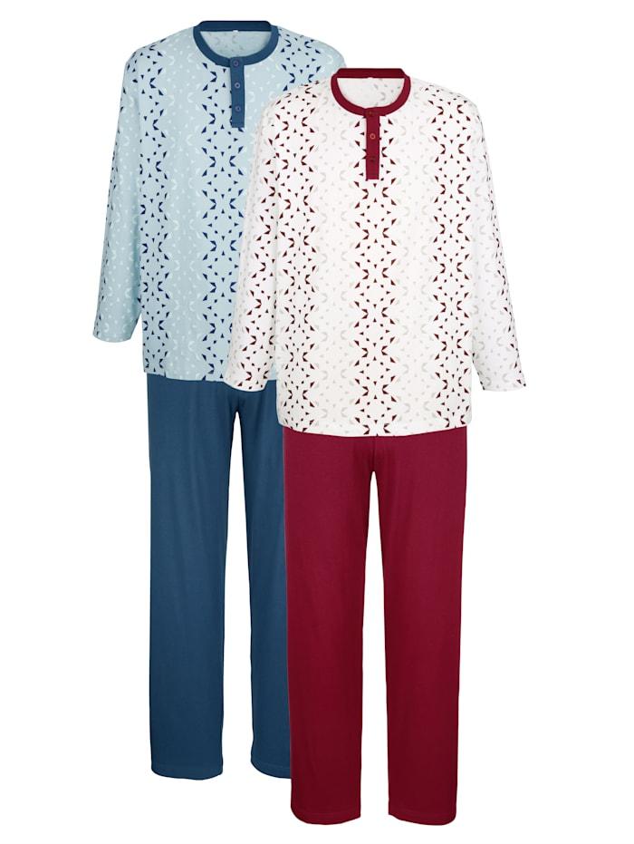 Pyjama's, Blauw/Bordeaux