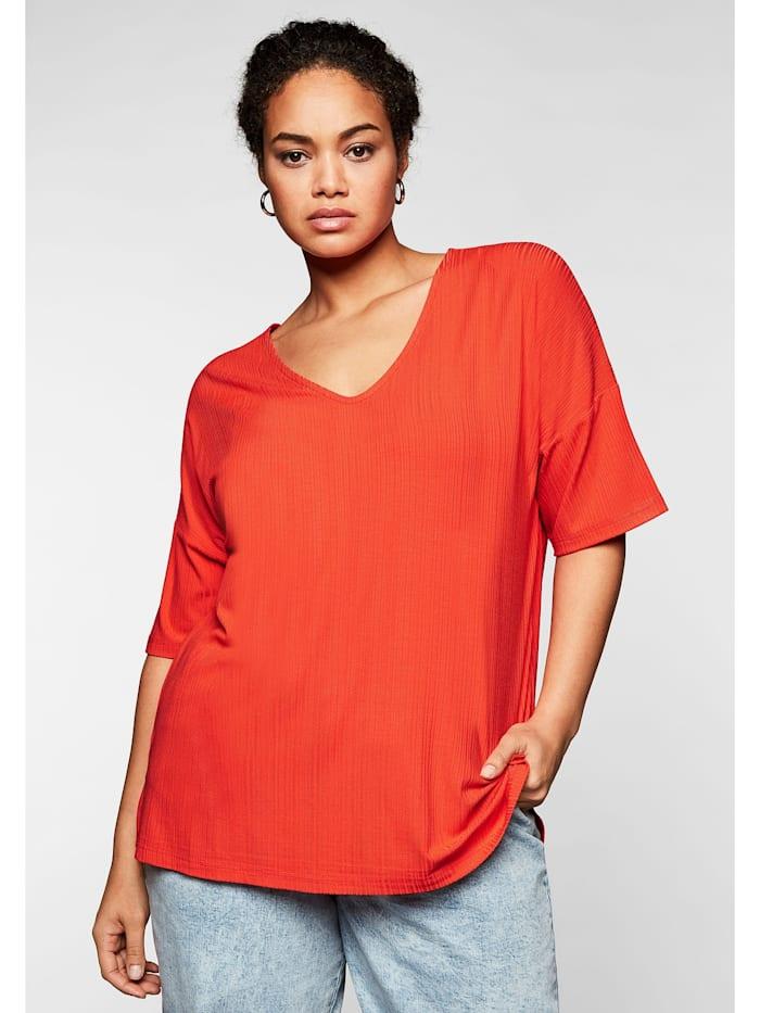 Sheego Shirt im dezenten Streifenlook, rotorange