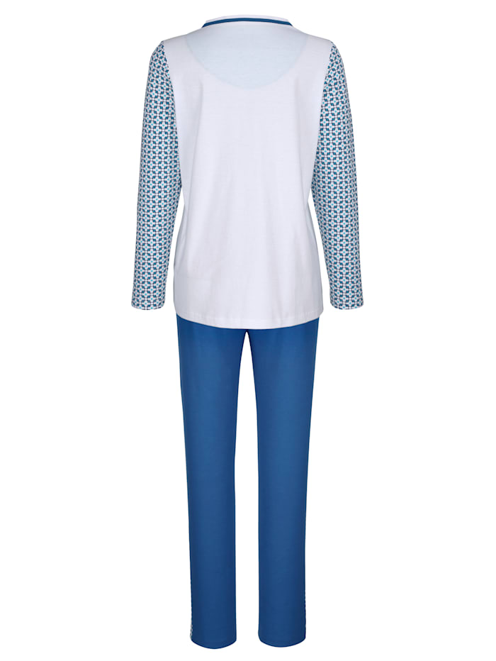 Pyjama met contrastkleurige borstzak