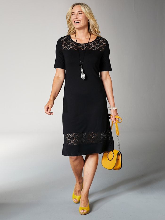 Jerseykleid mit transparentem Spitzeneinsatz