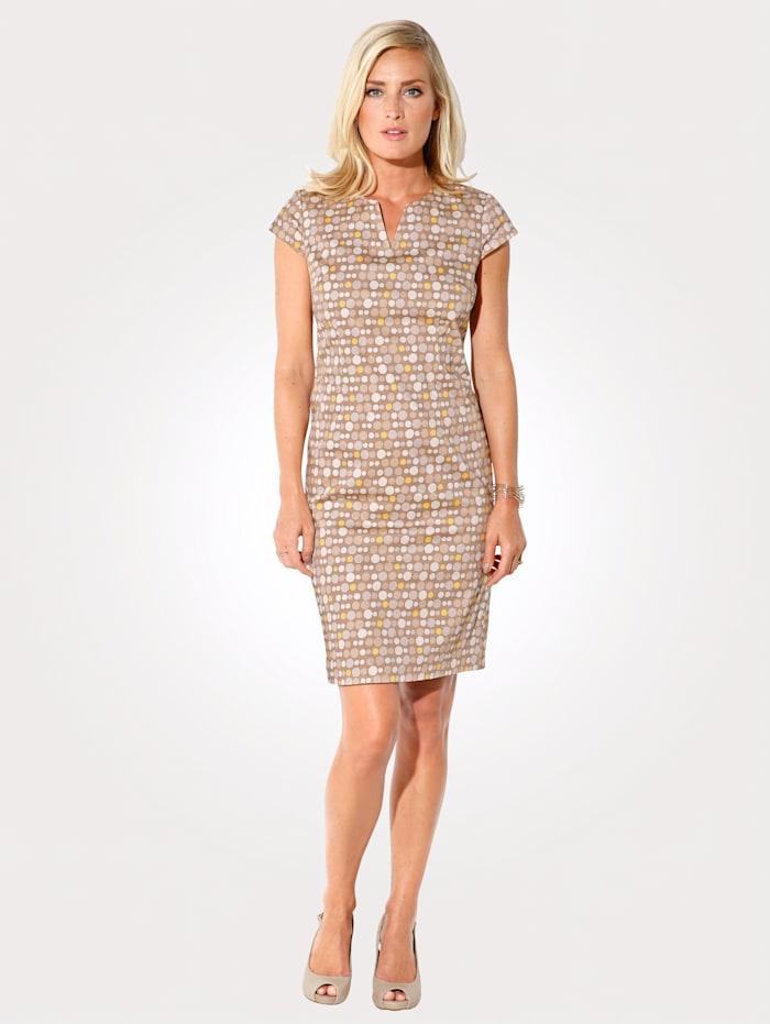 MONA Kleid mit Punkte-Dessin, Sand/Gelb