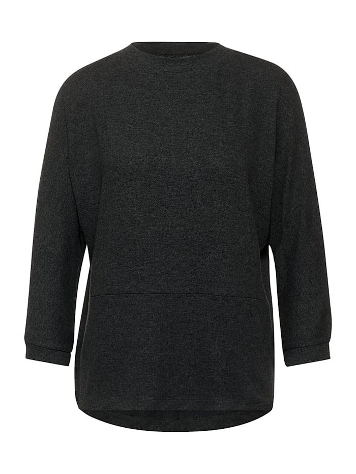 Street One Softes Stehkragen-Shirt, coaly anthracite melange
