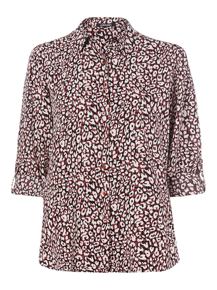 Olsen Klassische Bluse mit abstraktem Leopardenprint, Chestnut