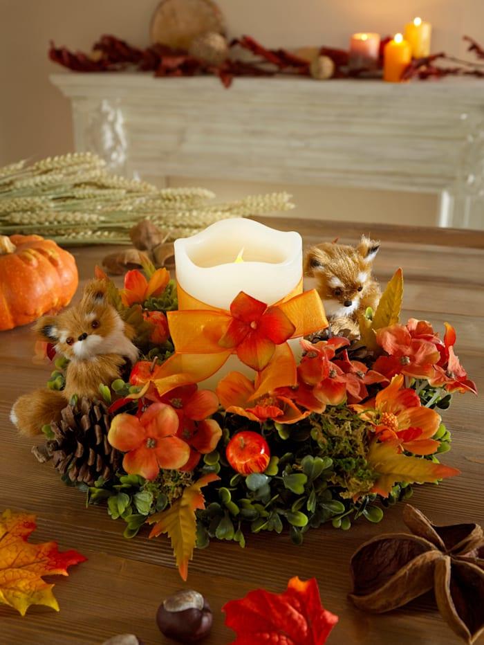 Tischkranz mit 2 Füchsen und LED-Kerzen