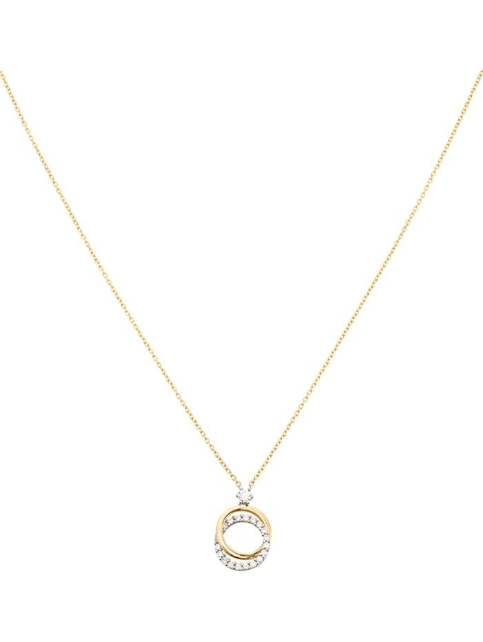 FAVS Damen-Kette 375er Gelbgold, 375er Weißgold Zirkonia