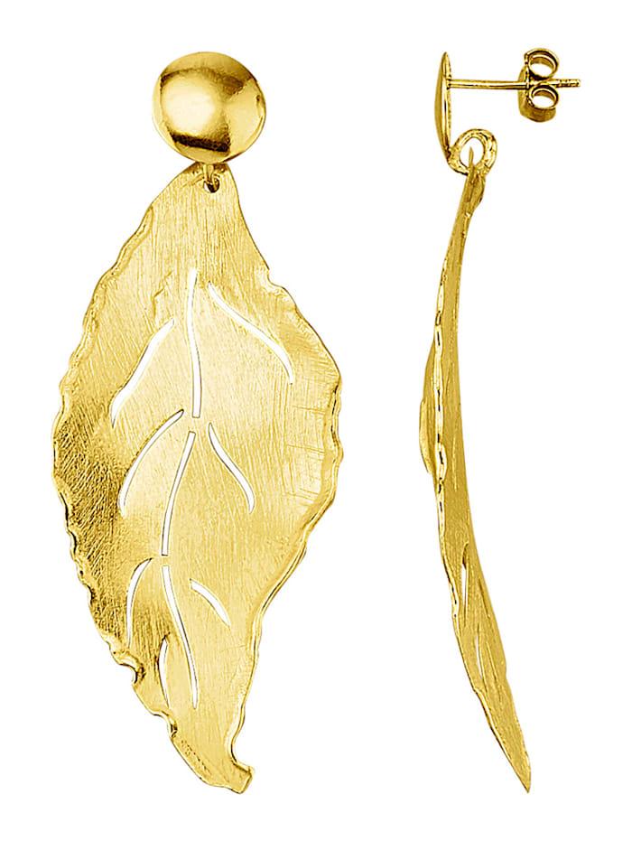 Boucles d'oreilles feuilles en argent 925, doré, Coloris or jaune