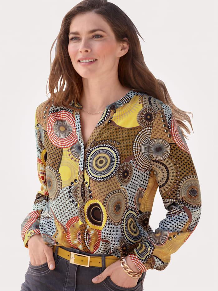 MONA Blouse met trendy print, Mais/Zwart/Rood