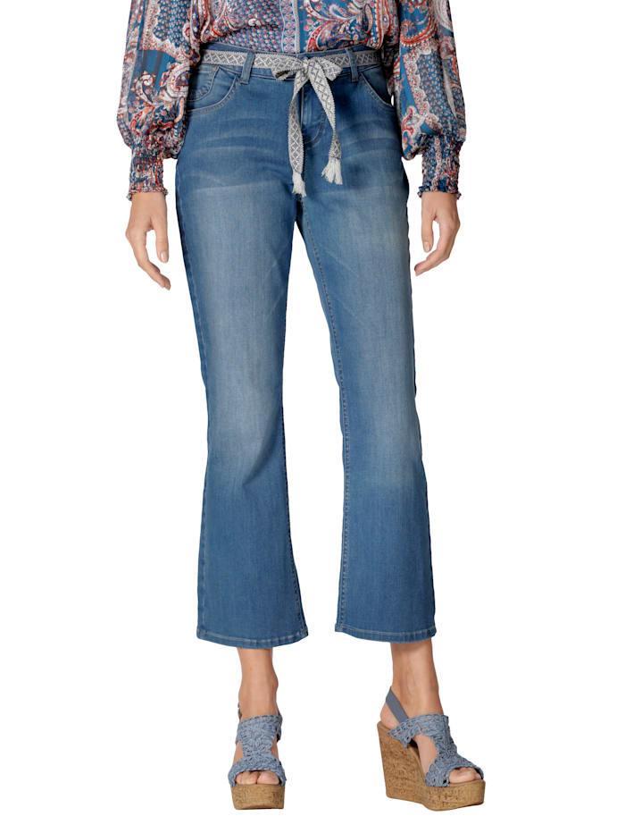 Cream Jeans mit Bindegürtel, Blau